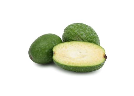 produce sections: Feijoa (Pineapple Guava or Guavastee), isolated on a white background Stock Photo