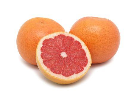 toronja: Pomelos de rojo rub�, aislado sobre fondo blanco
