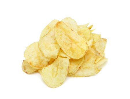 Pile of potato chips, isolated on a white background Stock Photo - 6081306