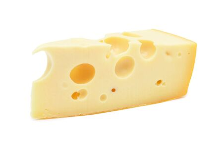 Perfect piece of swiss cheese, isolated on a white background Stock Photo