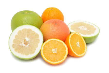 Group of citrus fruits, isolated on a white background photo