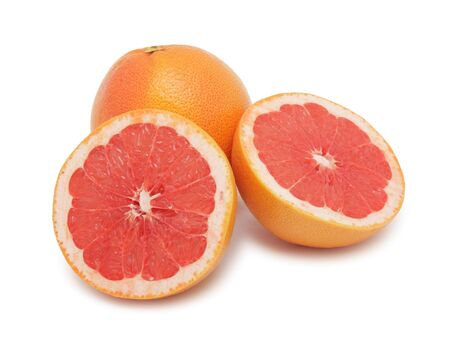 Fresh grapefruits, isolated on a white background