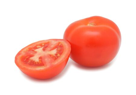 Ripe red tomatoes, isolated on a white background photo