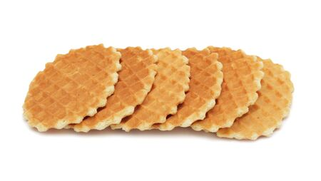 Pile of cookies stacked, isolated on a white background photo