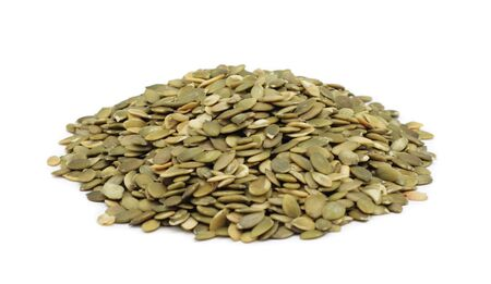 Pile of shelled pumpkin seeds, isolated on a white background Stock Photo - 6367350