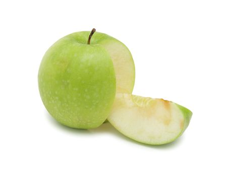 Sliced green apple, isolated on a white background Stock Photo