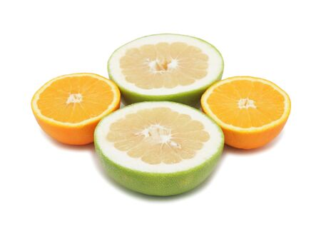 Group of sliced citrus fruits, isolated on a white background photo