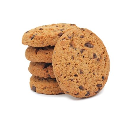 Chocolate chip cookies, isolated on a white background