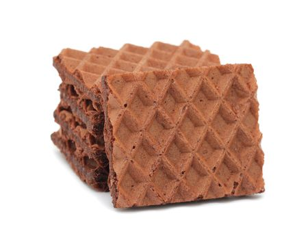 Chocolate waffles, isolated on a white background photo