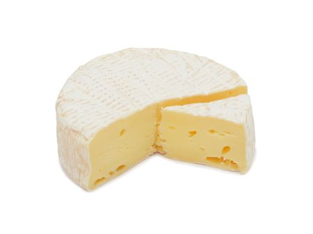 camembert: Round Brie cheese, with a section cut out, isolated on a white background