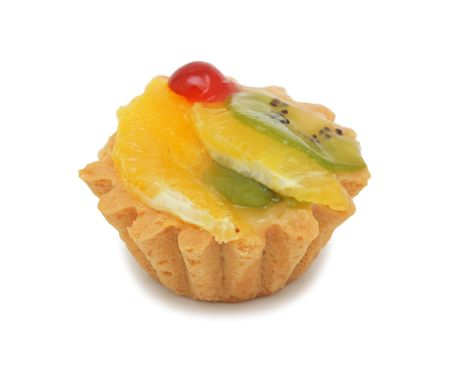 Cream cake with fruits, isolated on a white background Stock Photo
