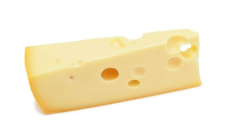 Big wedge of Swiss cheese, isolated on a white background