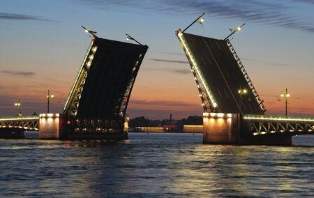 Night view of Palace Bridge. St Petersburg, Russia. Stock Photo
