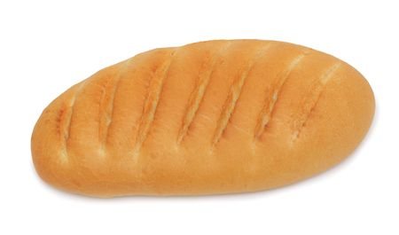 Loaf of baked hand-made bread, isolated on a white background photo