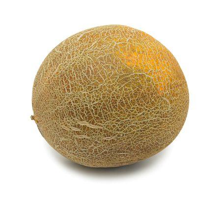 Whole uzbek yellow melon, isolated on a white background photo