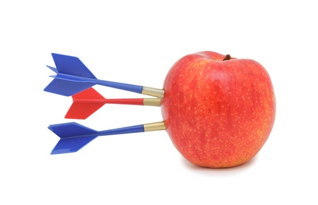 flint: Apple hit by arrow, isolated on a white background