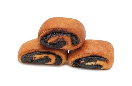Pile of buns with poppy seeds, isolated on a white background photo