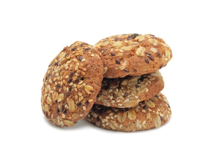 Sweet cookies with seeds, isolated on a white background photo