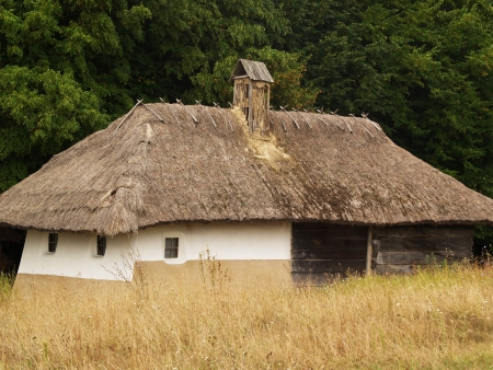 a house with a straw: Old small national village house with straw roof