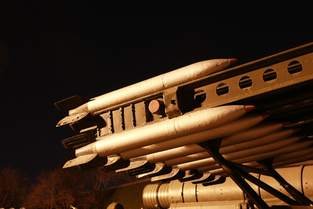 Part of multiple Launch Rocket System at the night in the World War II museum photo