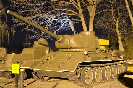 Soviet medium tank T-34-85 Model 1944 in museum at night