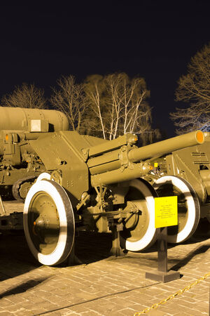 Soviet World War II  122mm howitzer M1938  M-30  in museum at night