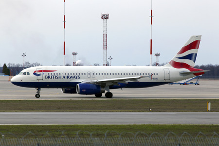 get away: Borispol, Ukraine - March 25, 2017: British Airways Airbus A320-200 A320-200 aircraft running on the runway of Borispol International Airport on March 25, 2017. Editorial use only