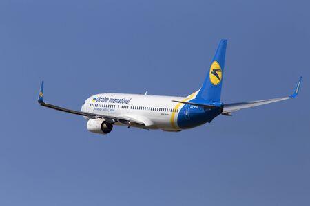 get away: Borispol, Ukraine - June 28, 2017: Ukraine International Airlines Boeing 737-800 aircraft departing from the Borispol International Airport on June 28, 2017. Editorial use only Editorial