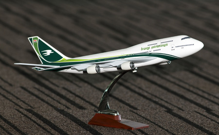 Borispol, Ukraine - April 10, 2018: Model of the Iraqi Airways Boeing 747 aircraft. Editorial use only Editorial