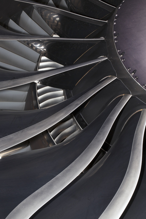 Modern General Electric airplane engine of the Boeing 777. Closeup Stock Photo