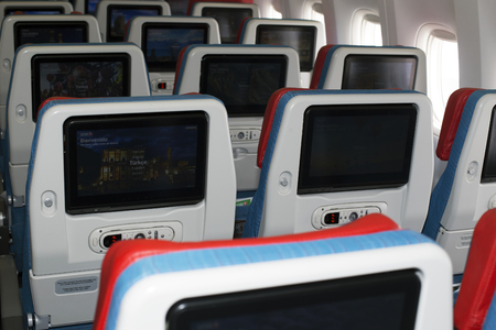 Borispol, Ukraine - April 10, 2018: TC-LJA Turkish Airlines Boeing 777-300ER economy class seats. Editorial use only