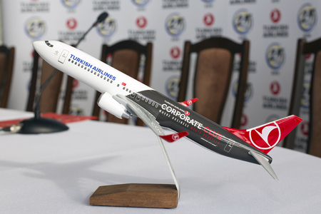 Borispol, Ukraine - April 25, 2018: Model of the Turkish Airlines Boeing 737-800 aircraft. Editorial use only