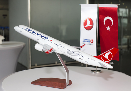Borispol, Ukraine - April 25, 2018: Model of the TC-JSE Turkish Airlines Airbus A321-200 aircraft. Editorial use only Editorial