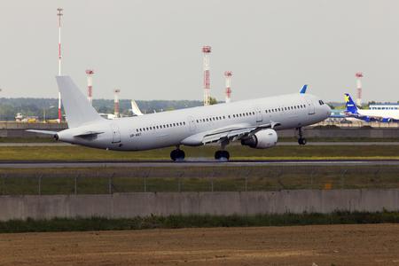 Borispol, Ukraine - May 25, 2018: UR-WRT Wind Rose Aviation Airbus A321-200 aircraft landing on the runway of Borispol International Airport