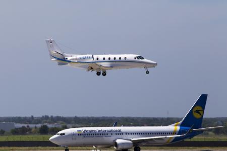 Borispol, Ukraine - May 26, 2018: D-CTTT Augusta Air Cessna 560XL Citation XLS business jet aircraft landing on the runway of Borispol International Airport