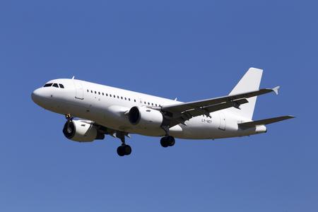Borispol, Ukraine - May 26, 2018: LY-VET Avion Express Airbus A319-100 aircraft on the blue sky background Editorial