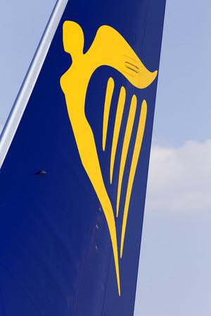 Borispol, Ukraine - September 03, 2018: A part of Ryanair Boeing 737-800 aircraft with logo Editorial
