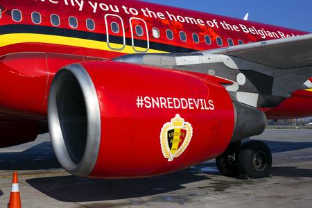 Borispol, Ukraine - September 03, 2018: Engine of the modern passenger jet aircraft