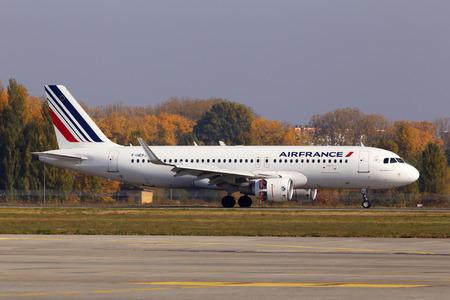 Borispol, Ukraine - October 17, 2018: F-HEPJ Air France A320-200 aircraft landing on the runway of Borispol International Airport