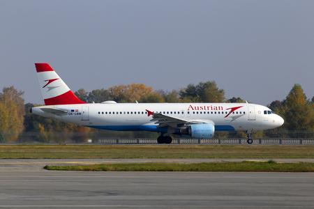 Borispol, Ukraine - October 17, 2018: Departing OE-LBM Austrian Airlines Airbus A320-200 aircraft from the Borispol International Airport