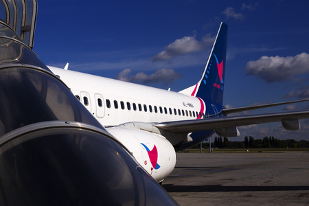 Borispol, Ukraine - October 05, 2018: A part of 4L-MWA MyWay Airlines Boeing 737-800 aircraft with logo