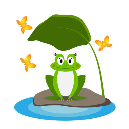Funny green frog on a stone near a puddle under a leaf, isolated on a white background. Vector illustration in a flat style.  イラスト・ベクター素材