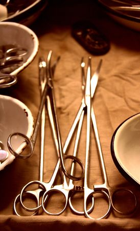 the worker medical instruments to rest upon the surgical table Stock Photo - 3700720