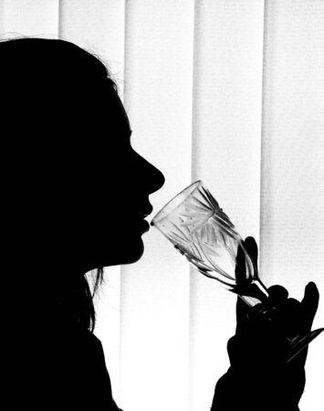 pensiveness: silhouette Archivio Fotografico