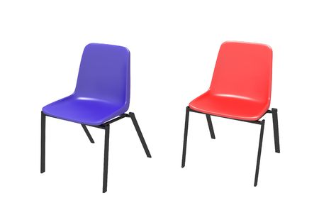 Two chairs on a white background - dark blue and red photo