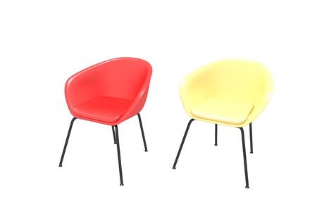 Two chairs on a white background - yellow and red photo