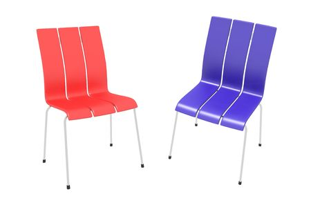 Two chairs on a white background - blue and red photo