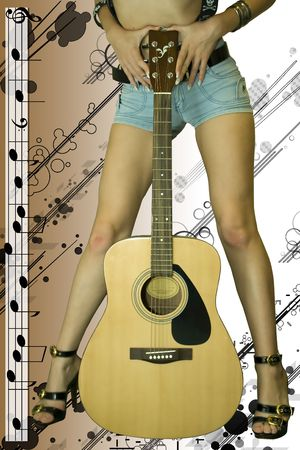 The girl has control over a guitar being shrouded in music sounds photo