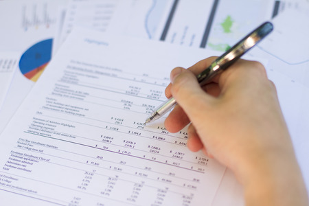 financial paperwork: a detailed statement of income  expenses in the enterprise Stock Photo