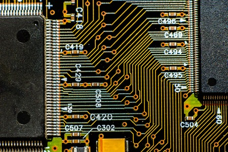 conductivity: Circuit board with microprocessors path Stock Photo